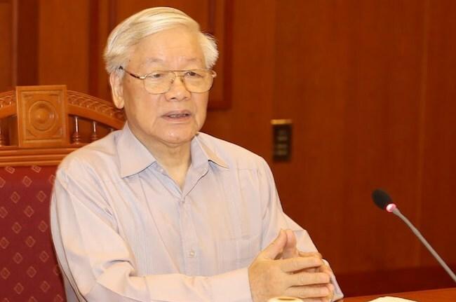 Tổng bí thư, Chủ tịch nước Nguyễn Phú Trọng phát biểu kết luận cuộc họp. Ảnh: TTX