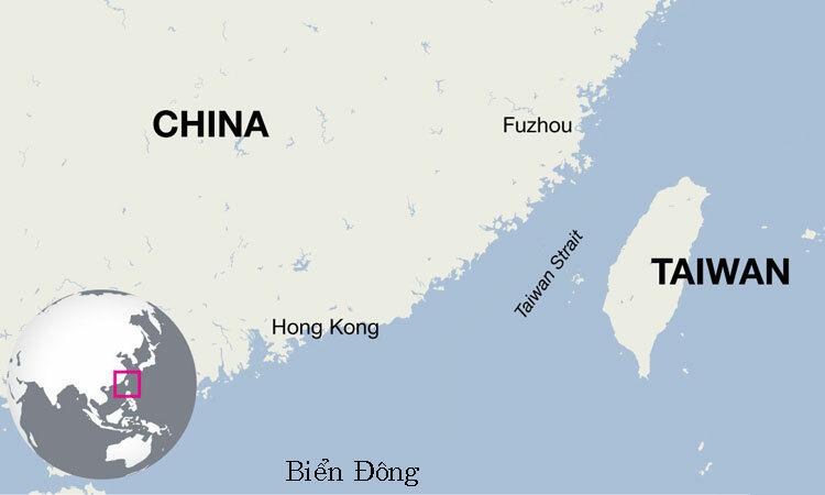 Vị trí eo biển Đài Loan. Đồ họa: Irish Times.