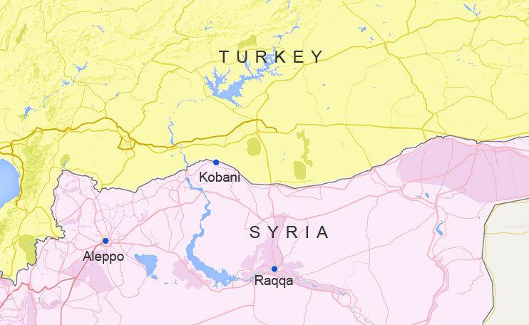 Vị trí thành phố Kobani của Syria. Đồ họa: Google Maps.