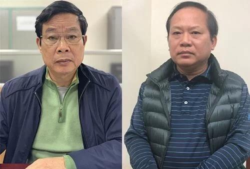 Ông Nguyễn Bắc Son và ông Trương Minh Tuấn tại cơ quan điều tra khi bị bắt vào tháng 2. Ảnh: Bộ Công an