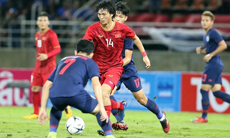 Tuấn Anh trong trận lượt đi gặp Thái Lan trên sân khách. Ảnh: Đức Đồng.
