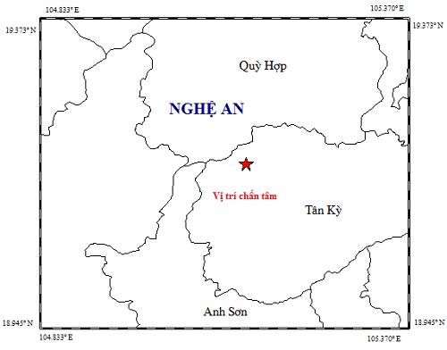 Vị trí động đất 4,2 độ richter tại huyện Tân Kỳ chiều 20/11.