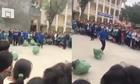 Học sinh nhảy bao bố kiểu lăn tròn
