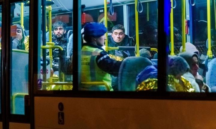 Xe buýt chở di dân tại cảng Vlaardingen, gần Rotterdam ngày 19/11. Ảnh: AFP.