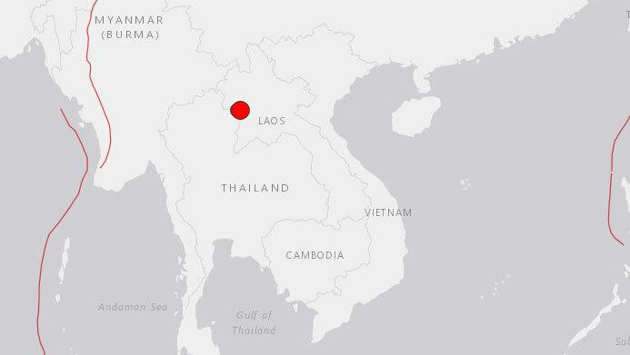 Vị trí xảy ra động đất ở tây bắc Lào sáng nay. Đồ họa: Google Earth.