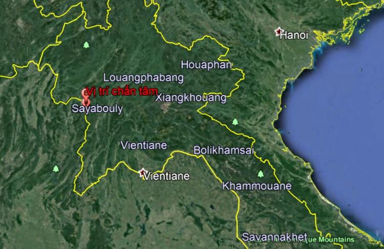 Chấm màu đỏ là vị trí xảy ra động đất. Đồ họa: igp-vast