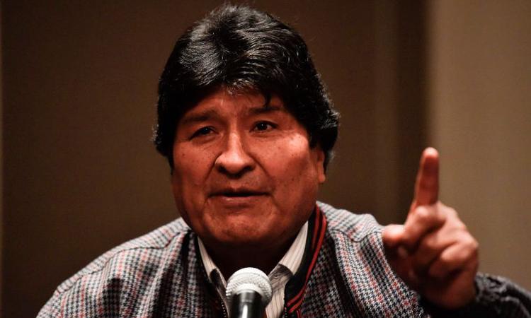 Cựu tổng thống Bolivia Evo Morales phát biểu trong cuộc họp báo tại thủ đô Mexico City, Mexico hôm 20/11. Ảnh: AFP.