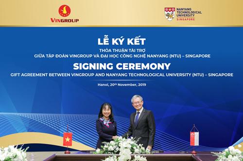 Giáo sư Ling San, Hiệu trưởng NTU chia sẻ, tài trợ của Vingroup sẽ truyền cảm hứng để các doanh nghiệp, tổ chức khác cũng thành lập các quỹ học bổng tương tự tại NTU.