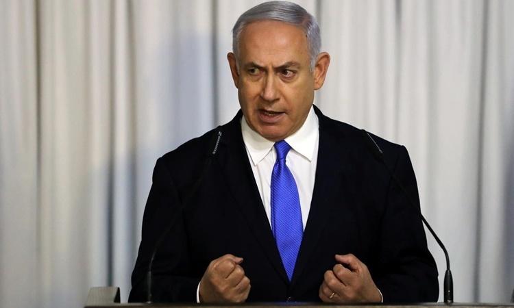 Thủ tướng Israel Benjamin Netanyahu phát biểu tại Tel Aviv hồi tháng hai. Ảnh: Reuters.