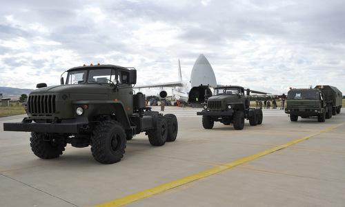 Thành phần tên lửa S-400 được Nga bàn giao cho Thổ Nhĩ Kỳ hồi tháng 7. Ảnh: Bộ Quốc phòng Thổ Nhĩ Kỳ.