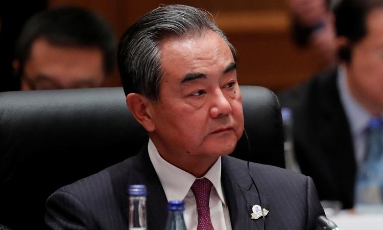 Ngoại trưởng Trung Quốc Vương Nghị tạihội nghị ngoại trưởng nhóm các nền kinh tế lớn G20 ở thành phố Nagoya, Nhật Bản hôm nay. Ảnh: Reuters.