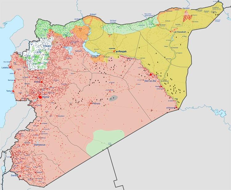 Khu vực người Kurd và lính Mỹ kiểm soát (màu vàng) ở miền đông Syria. Đồ họa: Wikimedia.