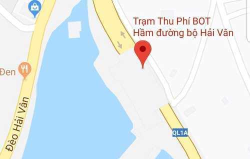 Trạm thu phí Bắc Hải Vân trên Quốc lộ 1A. Ảnh Google Maps