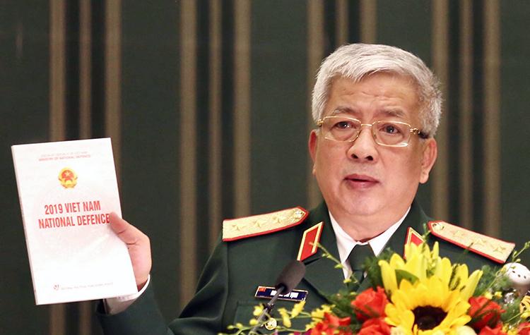 Thượng tướng Nguyễn Chí Vịnh chủ trì công bố Sách trắng Quốc phòng Việt Nam 2019. Ảnh Gia Chính.