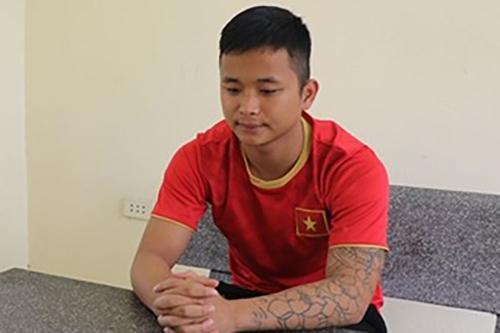 Nguyễn Văn Anh tại cơ quan điều tra. Ảnh: Công an cung cấp.