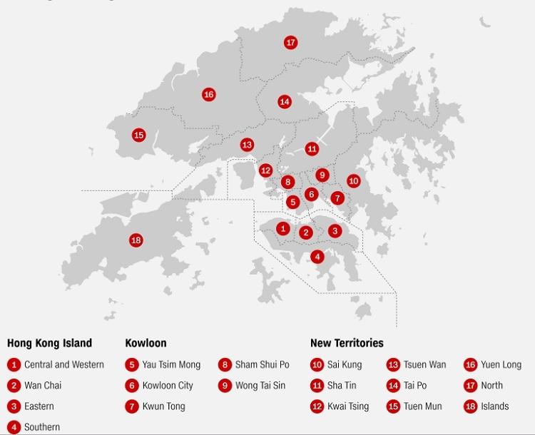 Vị trí 12 hội đồng quận ở Hong Kong. Đồ họa: CNN.