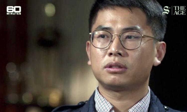 Wang William Liqiang, người tự nhận là gián điệp đào tẩu Trung Quốc, xuất hiện trên chương trình 60 Minutes hôm 24/11. Ảnh: 60 Minutes Australia.