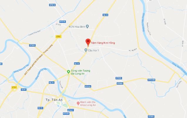 Tiệm vàng bị cướp cách TP Tân An hơn 6 km. Ảnh: Google maps.