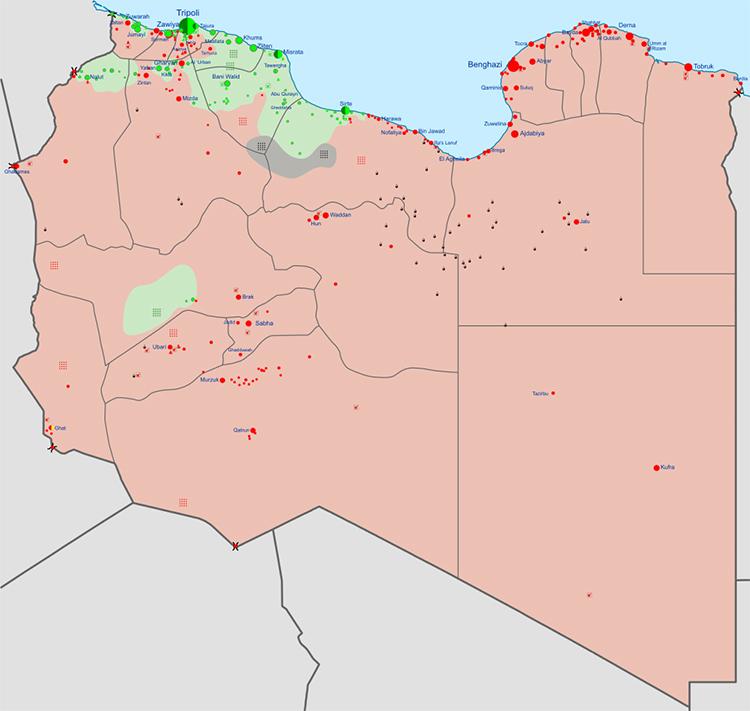 Khu vực kiểm soát của lực lượng LNA (màu đỏ), GNA (màu xanh lá cây) và IS (màu xám) tại Libya. Đồ họa: Wikimedia.