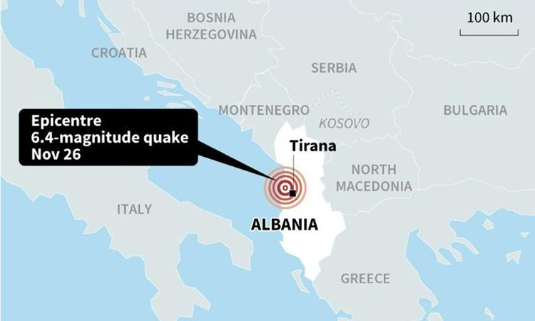 Vị trí tâm chấn trận động đất hôm nay ở Albania. Đồ họa: USGS.