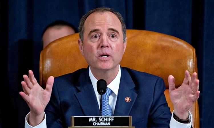Chủ tịch Ủy ban Tình báo Hạ viện Mỹ Adam Schiff tại phiên điều trần trong điều tra luận tội Trump ở Washington hôm 21/11. Ảnh: Reuters.