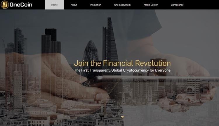 Trang web của OneCoin. Ảnh chụp màn hình.