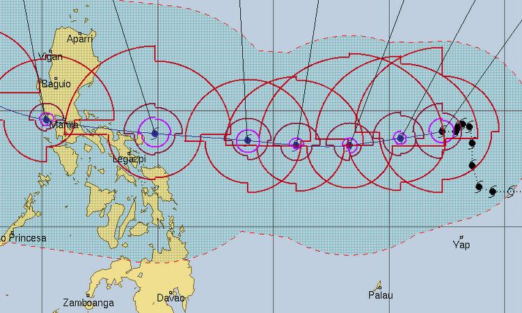 Đường đi dự báo của bão Kammuri cho đến ngày 3/12. Đồ họa: NOAA.