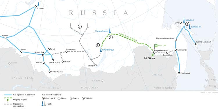 Đường đi của tuyến đường ống khí đốt Sức mạnh Siberia (nét đứt màu xanh lá cây). Ảnh: Gazprom.