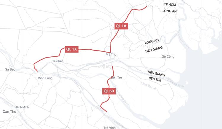 Tuyến quốc lộ 1A từ Long An đến Tiền Giang và quốc lộ 60 qua Bến Tre. Ảnh: Thanh Huyền.