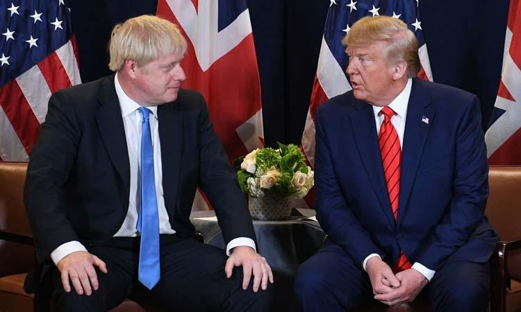 Tổng thống Mỹ Donald Trump (phải) và Thủ tướng Anh Boris Johnson tại trụ sở Liên Hợp Quốc ở New York, Mỹ hôm 24/9. Ảnh: PA.