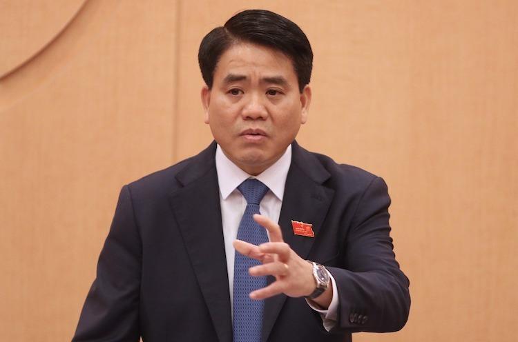 Ông Nguyễn Đức Chung phát biểu tại phiên họp tổ HĐND TP Hà Nội chiều 3/12. Ảnh: Võ Hải.