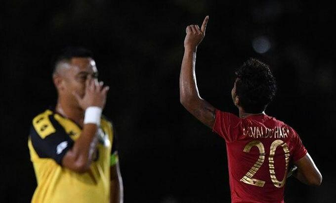 Osvaldo Haay khiến Brunei thua đậm. Ảnh: Antara