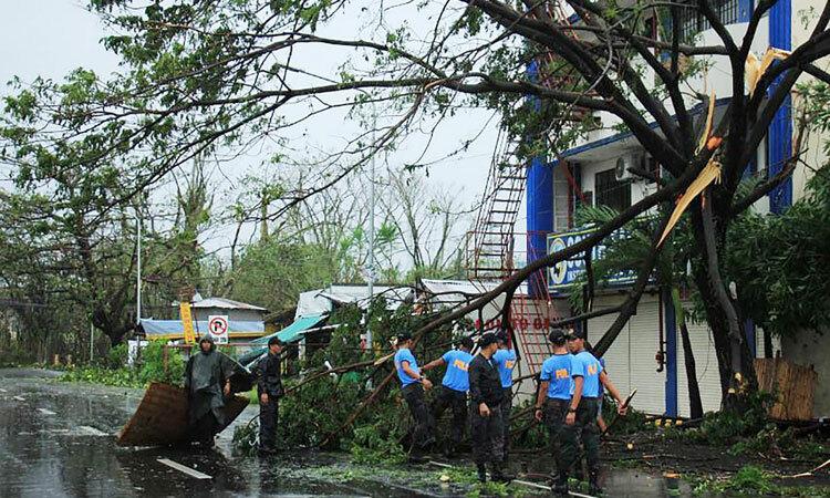 Cảnh sát dọn dẹp cây đổ sau khi bão Kammuri quét quaLegaspi City, Albay province, south of Manila on December 3
