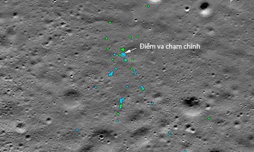 Vị trí các hố va chạm và mảnh vỡ của tàu Vikram trên Mặt Trăng. Ảnh: Space.