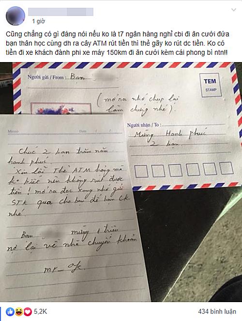 Chàng trai số nhọ của mùa cưới 2019 trong thư đã xin phép được nợ lại tiền mừng 1 triệu để về nhà chuyển khoản