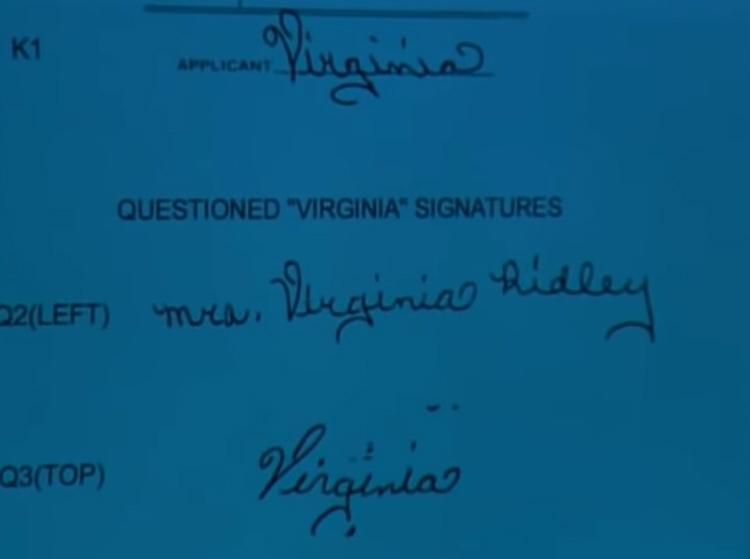 Chữ i do Virginia ký nhiều năm trước và trong trang nhật ký có đặc điểm giống nhau. Ảnh: Filmrise.