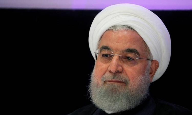 Tổng thống Iran Hassan Rouhani phát biểu tại một cuộc họp báo bên lề cuộc họp của Đại hội đồng Liên Hợp Quốc ở New York, Mỹ, hôm26/9. Ảnh: Reuters.