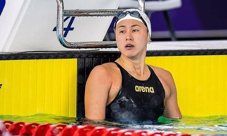 Quah Ting Wen lập kỷ lục đầu tiên của môn bơi tại SEA Games 2019. Ảnh: SNOC.