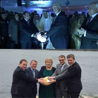 Các lãnh đạo Bắc Âu (dưới) nhại lại bức ảnh của Trump với lãnh đạo Arab Saudi. Ảnh: PressTV.