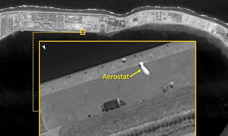 Vật thể có hình dạng khí cầu (aerostat) ở đá Vành Khăn hôm 18/11. Ảnh: ISI.