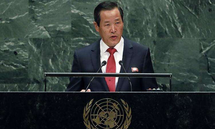 Đại sứ Triều Tiên tại LHQ Kim Song phát biểu tại kỳ họp thứ 74 của Đại hội đồng LHQ ở New York ngày 30/9. Ảnh: Yonhap.