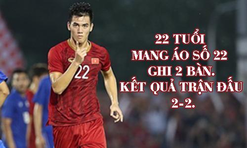Tiến Linh trong trận đấu tiễn Thái Lan về nước.