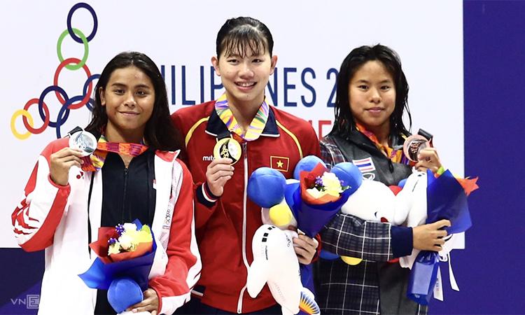 Ánh Viên đoạt HC vàng SEA Games thứ 20 cho bản thân cô. Ảnh: Phạm Đương.
