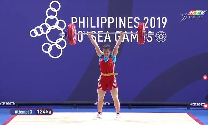 Cú đẩy liều lĩnh, tăng tới 17kg giúp Hồng Thanh đoạt HC vàng.