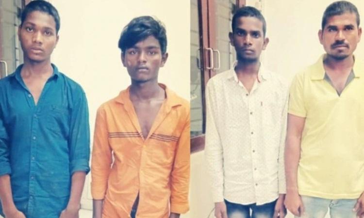 Bốn nghi phạm cưỡng hiếp, sát hại nữ bác sĩ thú yPriyanka tại đồn cảnh sát ở Hyderabad hôm 27/11. Ảnh: India Today.