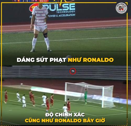 Khi Ronaldo Campuchia lấy đà và sút phạt sao y bản chính.