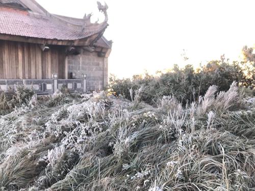 Băng giá xuất hiện trên đỉnh Fansipan sáng 6/12. Ảnh: Xuân Chiến