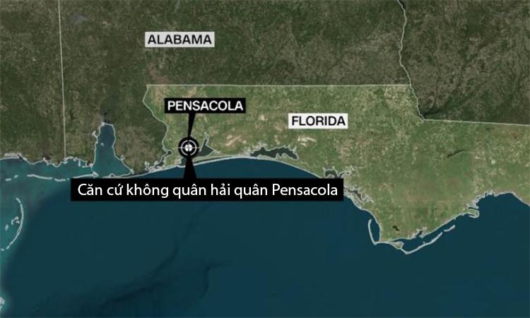 Vị trí căn cứ không quân hải quân Pensacola tại bang Florida, Mỹ. Đồ họa: CNN.