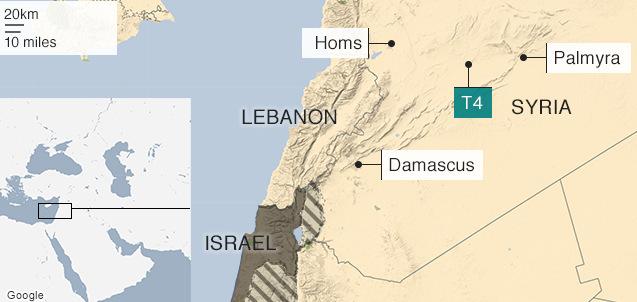 Vị trí sân bay T4 của Syria. Đồ họa: BBC.