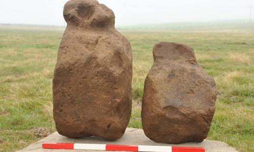 Tượng đá hình người tại Finstown, Orkney. Ảnh: BBC.